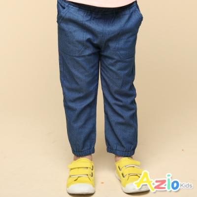 Azio Kids 女童 長褲 彈性鬆緊大口袋縮口牛仔長褲(藍)