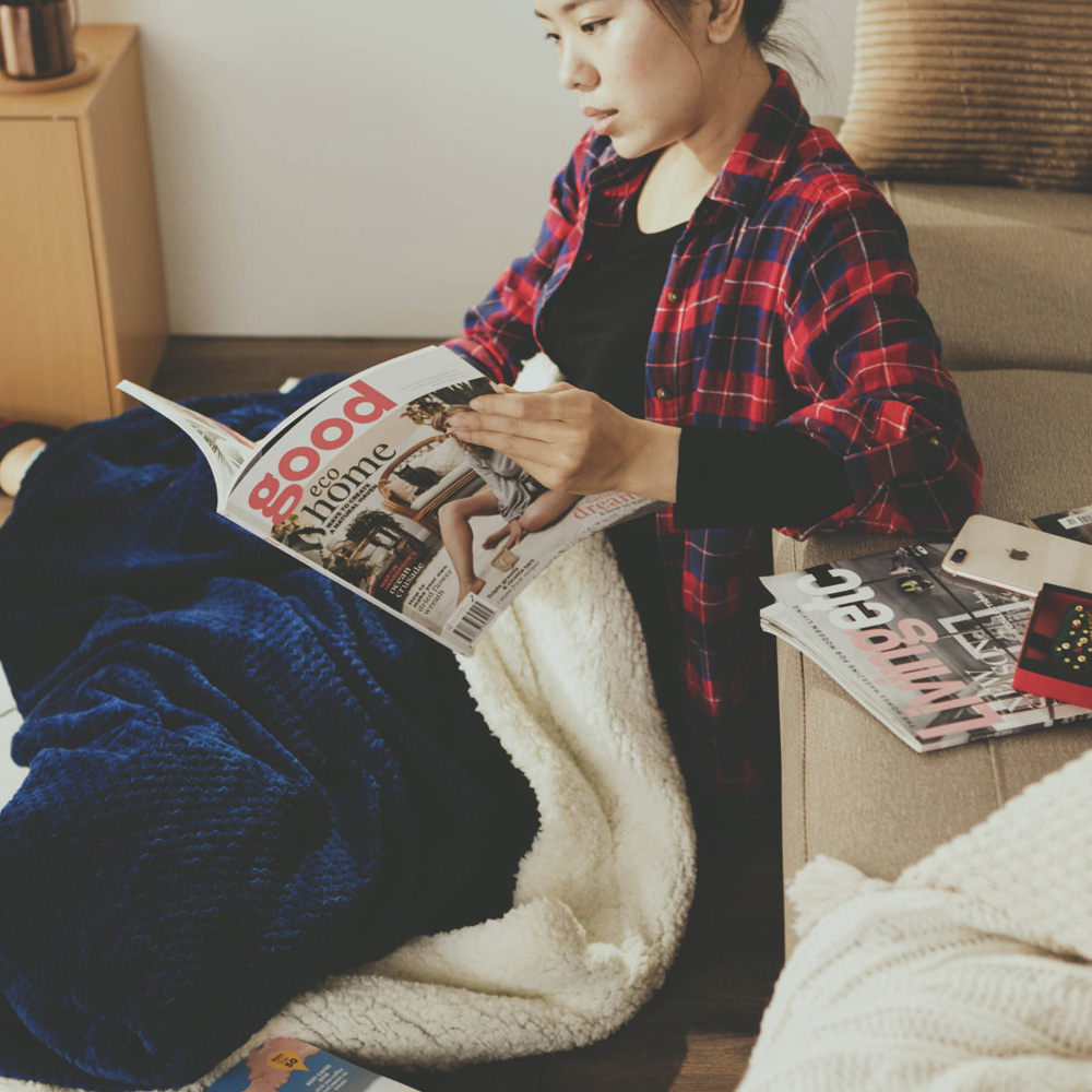 絲薇諾 寶藍 Warm Warm羊羔絨毯/毛毯-150×200cm @ Y!購物