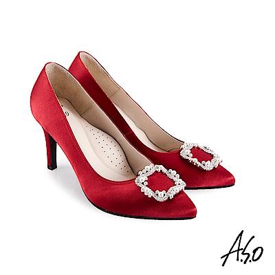 A.S.O 璀璨宴會 細緻光澤緞面珍珠飾扣高跟鞋紅