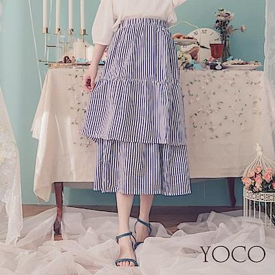 東京著衣-YOCO  歐膩首選層次條紋蛋糕長裙-XS.S