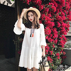 Jilli-ko 民族風刺繡流蘇連身裙- 白