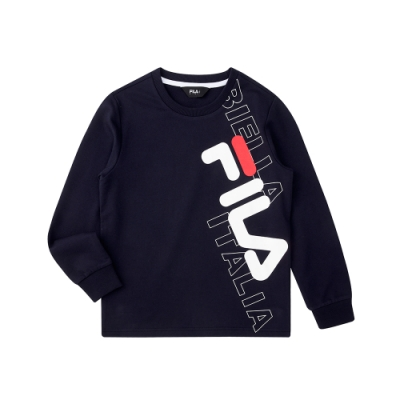 FILA KIDS 長袖圓領上衣-丈青 1TEU-8901-NV