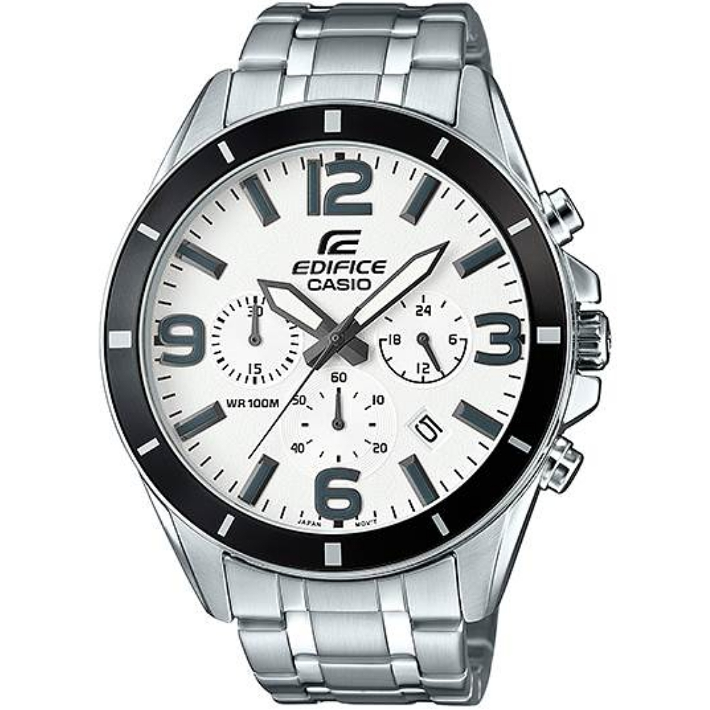 EDIFICE 頂尖專職達人全月曆計時男錶-白X銀(EFR-553D-7B)/36mm @ Y!購物