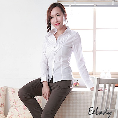 EELADY大尺碼-OL知性穿搭斜紋長袖襯衫