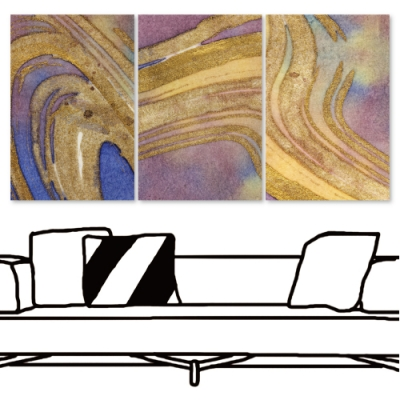 24mama掛畫 三聯式 現代無框畫掛畫 40x60cm-紫畫金砂