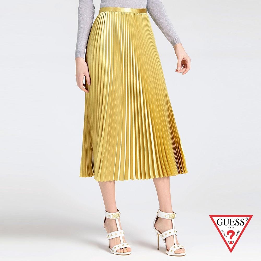 GUESS-女裝-金屬光澤百摺長裙-黃
