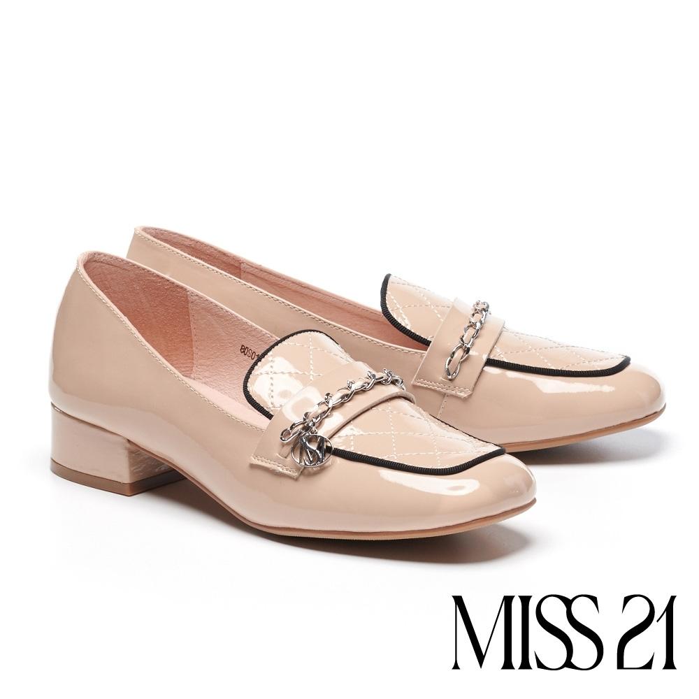 高跟鞋 MISS 21 氣質精緻小香風全真皮樂福高跟鞋-粉膚