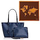 Alviero Martini 地圖包 經典地圖撞色絲巾+地真皮肩背購物包(中)-深藍