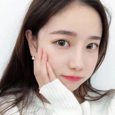 梨花HaNA 韓國925銀粉嫩少女愛心晶鑽珍珠耳環