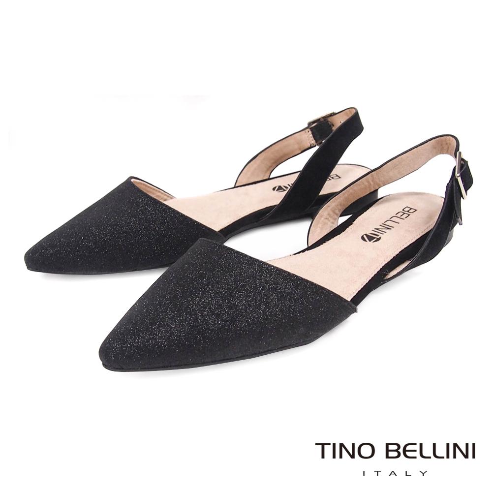 Tino Bellini 微光閃爍後拉帶尖頭平底鞋 _ 黑