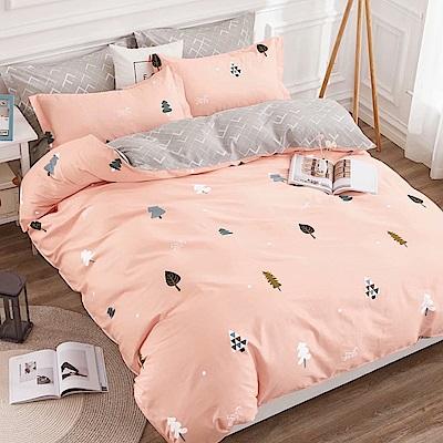 戀家小舖 / 雙人加大床包枕套組 小森林 100%精梳棉 活性印染
