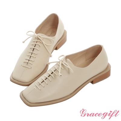 Grace gift X Mandy -聯名方頭縫飾細節低跟牛津鞋 米白