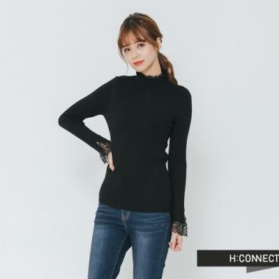 H:CONNECT 韓國品牌 女裝 - 蕾絲滾邊針織上衣-黑(快)