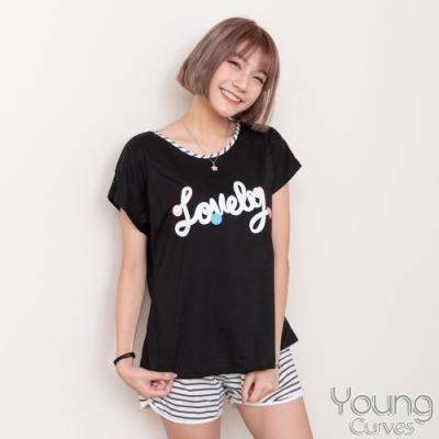睡衣 彈性棉質短袖兩件式睡衣(C01-100703你最可愛) Young Curves