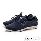 HANNFORT ZERO GRAVITY 束繩彈力條紋運動鞋-女-深藍