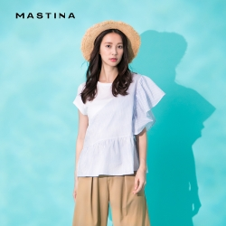 【MASTINA】拼接荷葉造型-上衣(白色)
