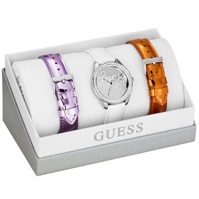 GUESS party女孩晶鑽時尚套錶組-銀面白-W0201L1-36mm
