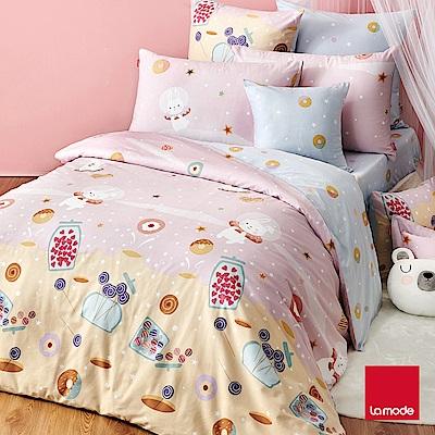 (活動)La Mode寢飾 甜心兔兔環保印染100%精梳棉兩用被床包組(加大)