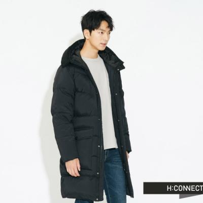 H:CONNECT 韓國品牌 男裝 - 連帽長版羽絨外套  - 黑
