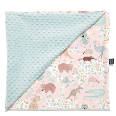 La Millou 單面巧柔豆豆毯(加大款)-澳洲森友會(粉底)-煙燻香草綠-嬰兒毯寶寶被毯冷氣毯