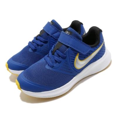 Nike 慢跑鞋 Star Runner 2 運動 童鞋 輕量 透氣 舒適 避震 魔鬼氈 中童 藍 黃 AT1801404