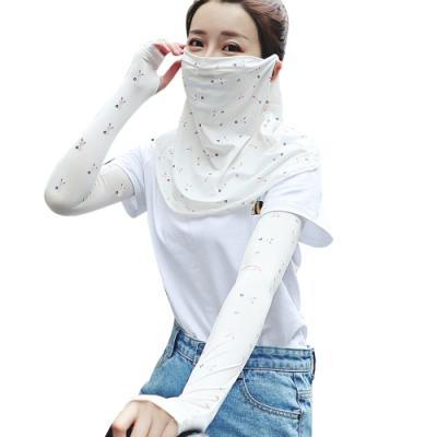 Maleroads 時尚小花款 涼感輕薄再升級!! 防曬袖套+掛耳面罩套組 清爽透氣