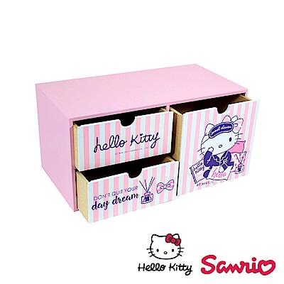 Hello Kitty 文青風 凱蒂貓 桌上橫式大容量收納盒 桌上收納 文具收納