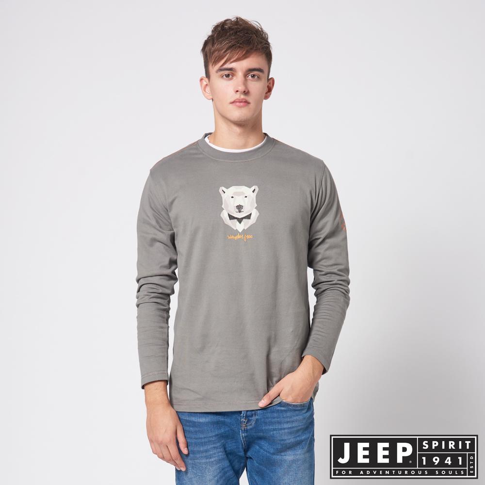 JEEP 3D圖騰休閒長袖TEE -灰色