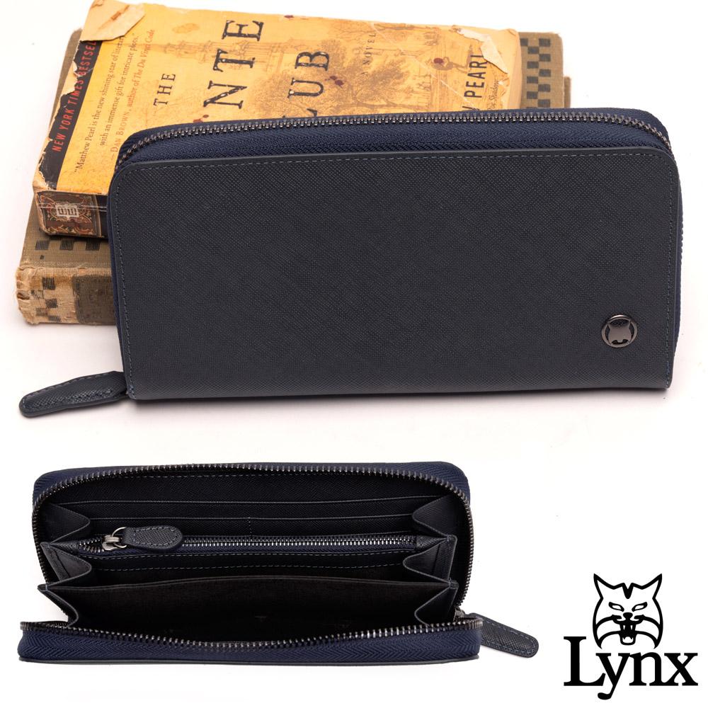 Lynx - 美國山貓藍調紳士進口牛皮系列8卡拉鏈長夾-黑色