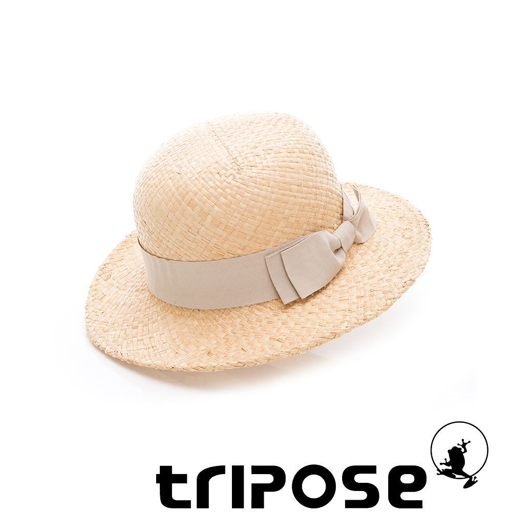 tripose 都會清新-100% Raffia入門款圓頂寬飾帶草帽(飾帶-米色)