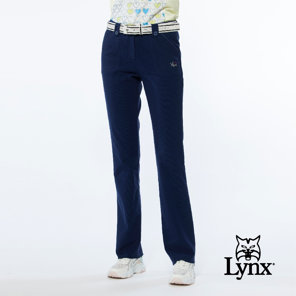 【Lynx Golf】女款日本進口布料彈性舒適造型飾釦類燈芯絨窄管長褲-深藍色