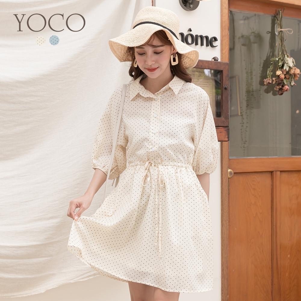 東京著衣-YOCO 微甜女孩點點抽繩設計雪紡洋裝-S.M.L(共二色)