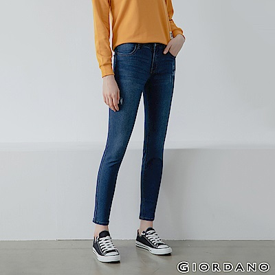 GIORDANO 女裝中腰彈力修身窄管牛仔褲-52 中藍