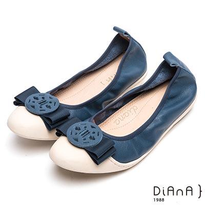 DIANA 氣質出眾—質感真皮圓釦娃娃鞋-藍