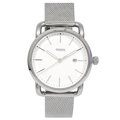 FOSSIL 美國精品手錶 COMMUTER 日期顯示白錶盤 銀色米蘭錶帶34mm