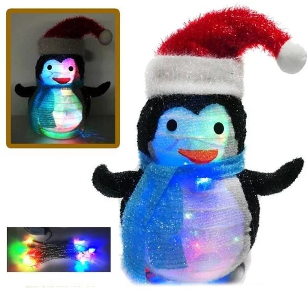交換禮物-摩達客 聖誕燈籠式彈簧折疊42CM小企鵝 (LED20燈雙閃插電式燈串)