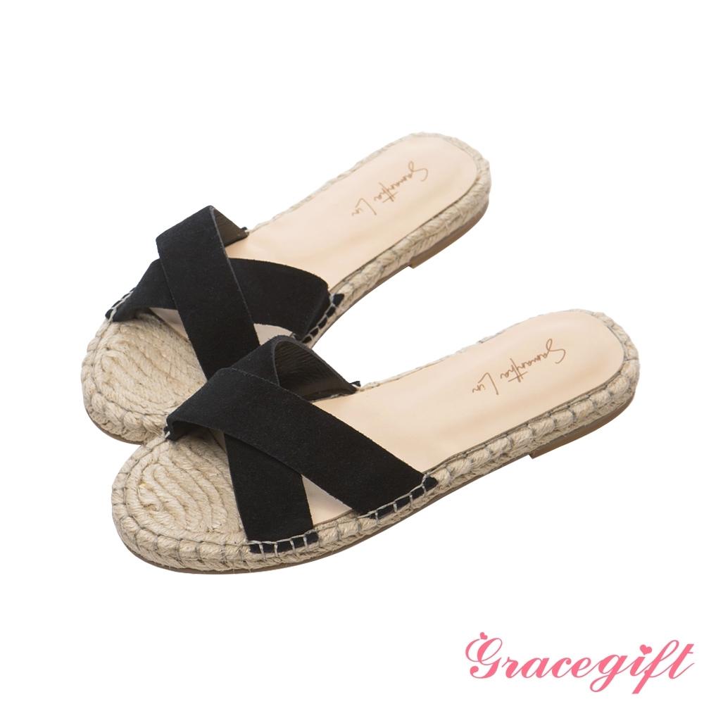 Grace gift X Samantha-聯名交叉寬帶平底涼拖鞋 黑