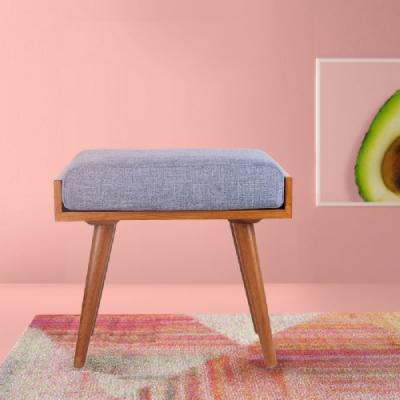 E-home Aurora歐若拉實木兩用造型長板凳 藍色