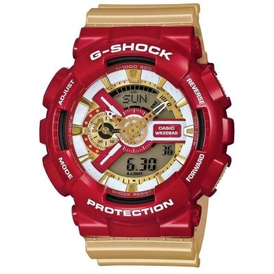 G-SHOCK 超級英雄聯盟鋼鐵人雙顯錶(GA-110CS-4A)-火焰紅/金色/51.2mm