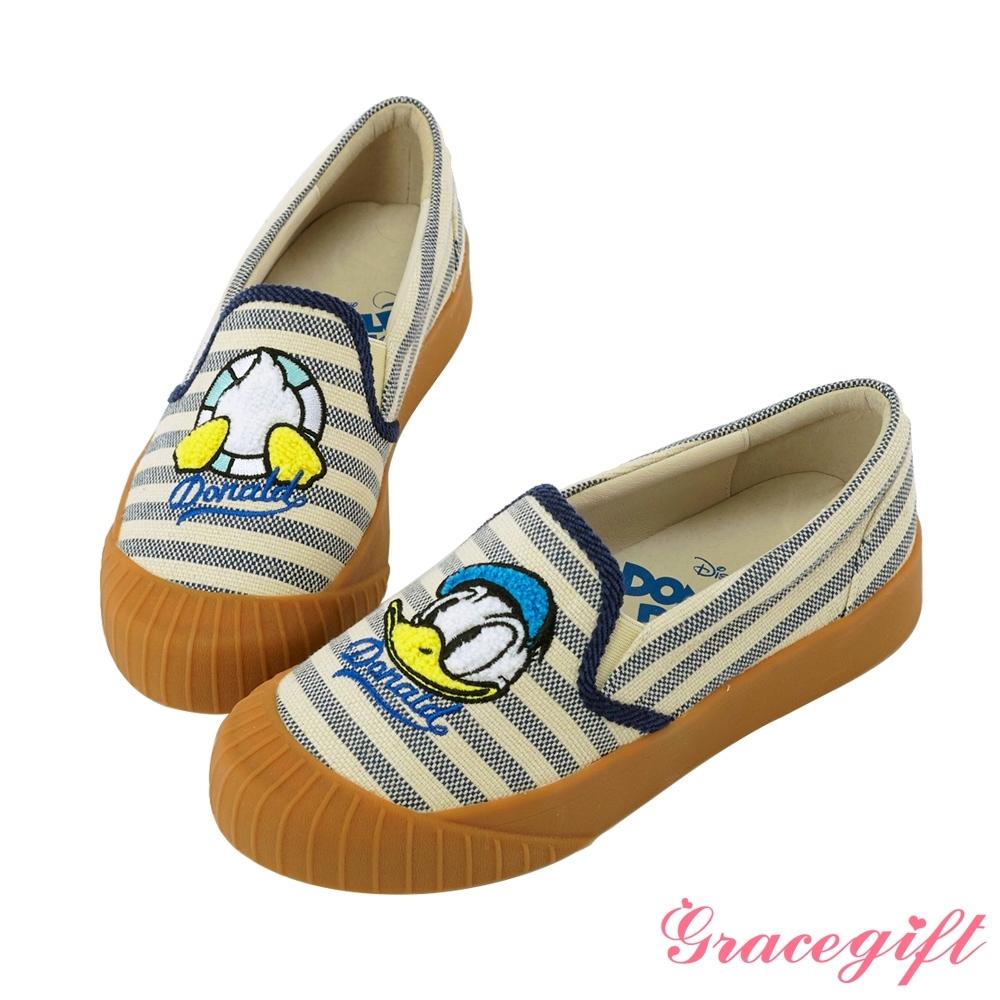 Disney collection by gracegift不對稱電繡平底鞋 條紋