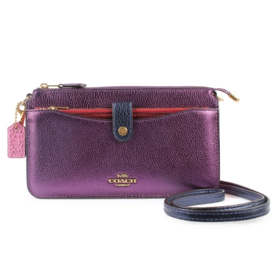 COACH NOA POP-UP金屬光澤皮革撞色斜背包(附萬用收納夾)-紫色