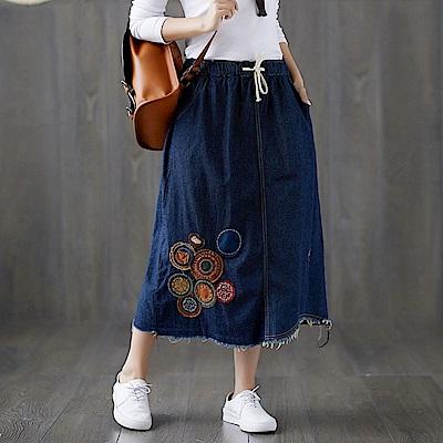 貼布毛邊鬆緊半身牛仔裙L-XL-Keer