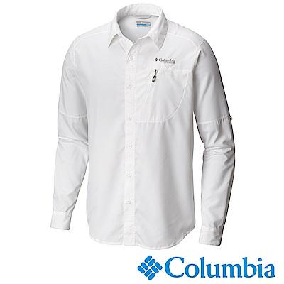 Columbia哥倫比亞 男款-鈦 防曬30快排長袖襯衫-白色UAE06320