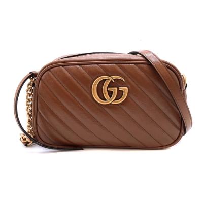[超夯新款]GUCCI GG Marmont 仿舊金雙G牛皮拉鍊斜肩背包-24cm(447632-栗子咖)