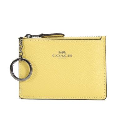 COACH 防刮皮革拉鍊證件零錢鑰匙包(向日葵黃)