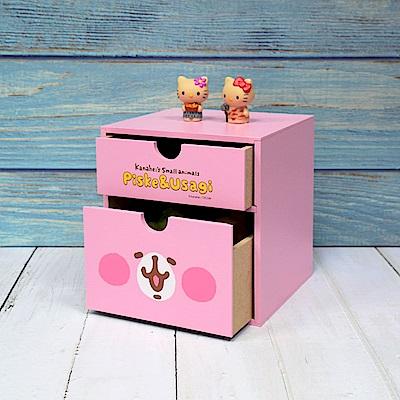 Kanahei 卡娜赫拉-大臉兔兔 直式雙抽盒 桌上收納 文具收納 飾品收納