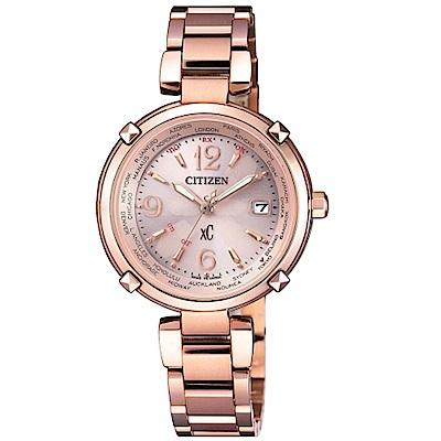 CITIZEN XC優雅粉面電波光動能腕錶/EC1042-69W