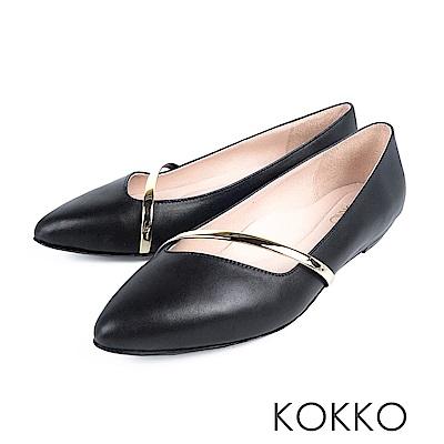 KOKKO - 輕奢女神金屬尖頭楔型真皮鞋-亮黑色
