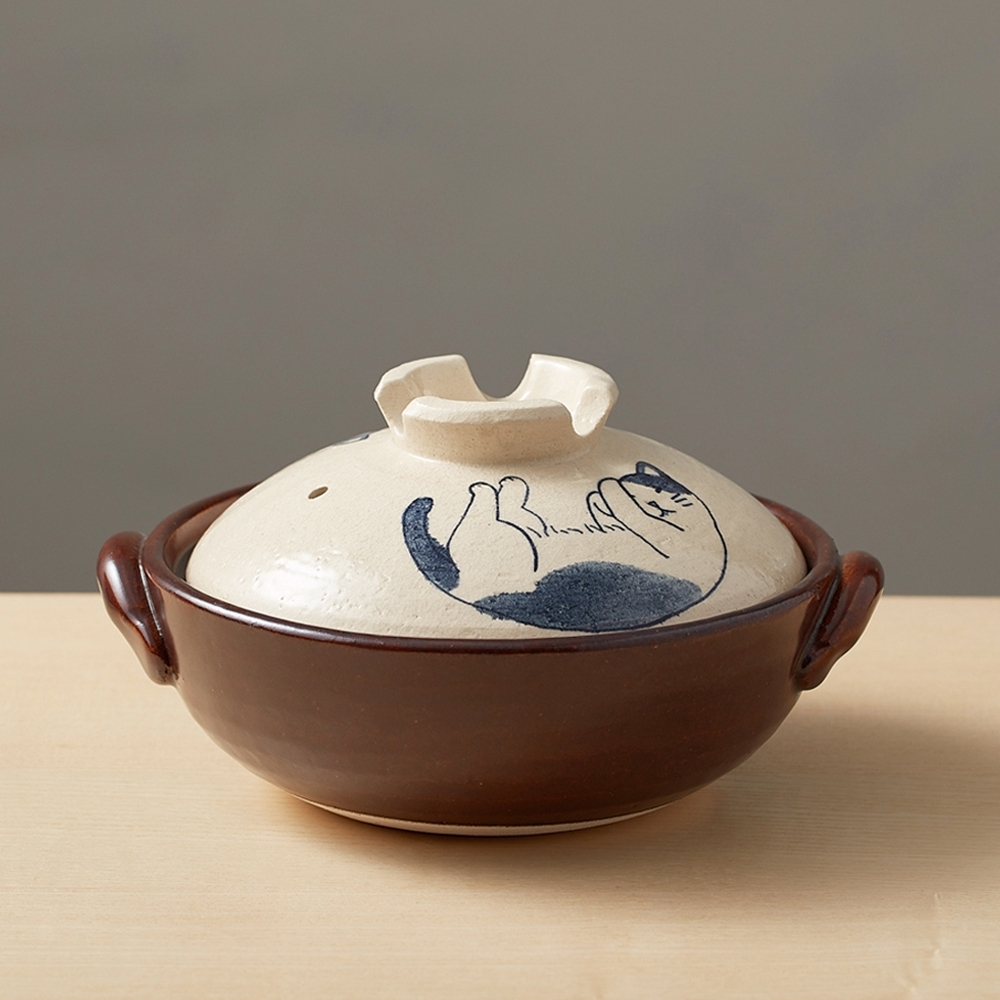 日本TAIKI太樹萬古燒 手繪土鍋8號-貓咪打呼(2.1L)