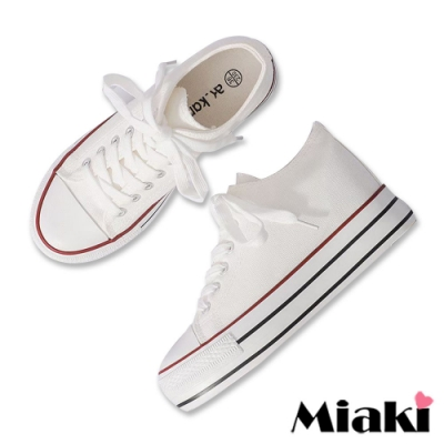 Miaki-帆布鞋韓版復刻厚底休閒鞋-白